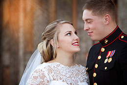 Bride with her new Marine husband