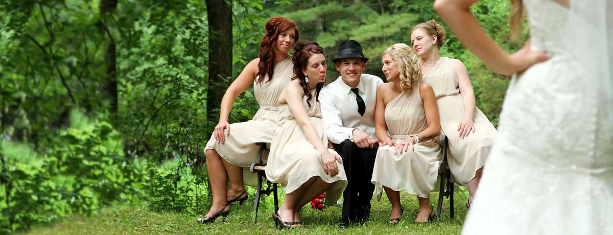 Bride catches groom flirting with the bridesmaids