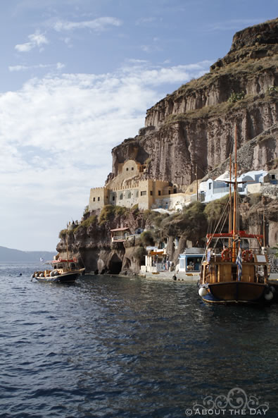 A view of Santorini from the water