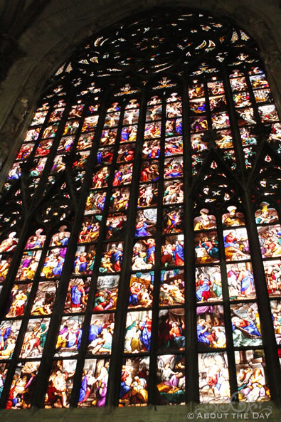 Stained Glass in the Duomo di Milano cathedral