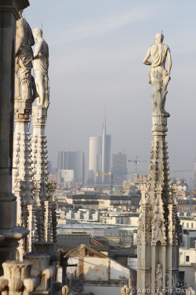 A stunning view of downtown from the Duomo di Milano roof
