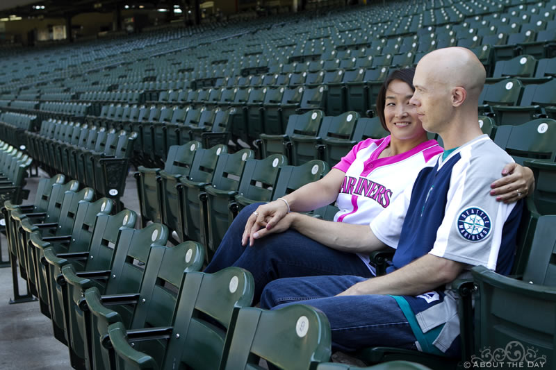 Engagement session at Safeco Field in Seattle, Washington