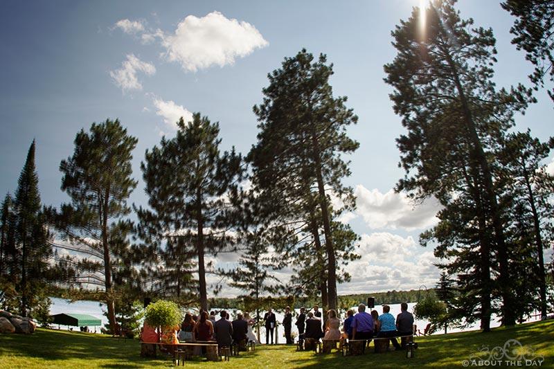 Big sky over wedding ceremony near Cass Lake, Minnesota