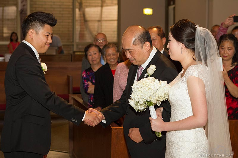 Father gives Bride to Groom