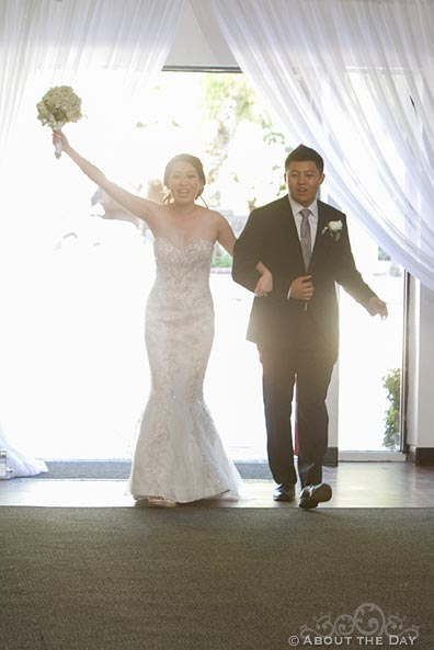 Bride and Groom enter the reception at Hurst Ranch