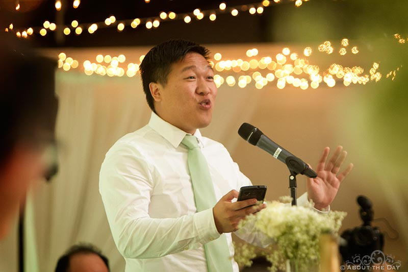 Best man gives a great speach at Hurst Ranch