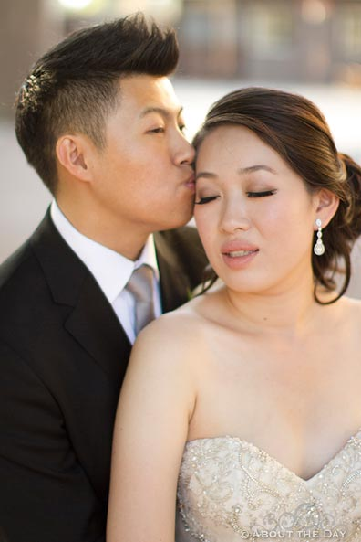 Groom kisses Bride on the temple at Hurst Ranch