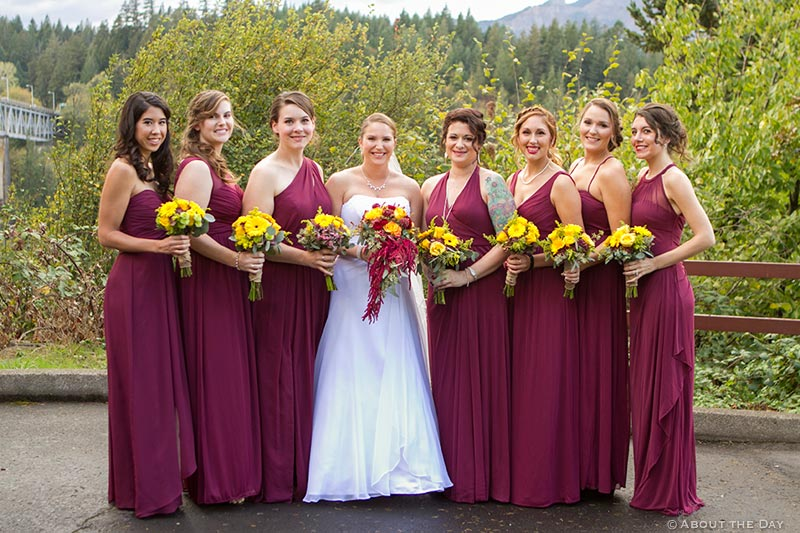 Bride and her ladies at Sternwheeler Columbia Gorge & Marine Park