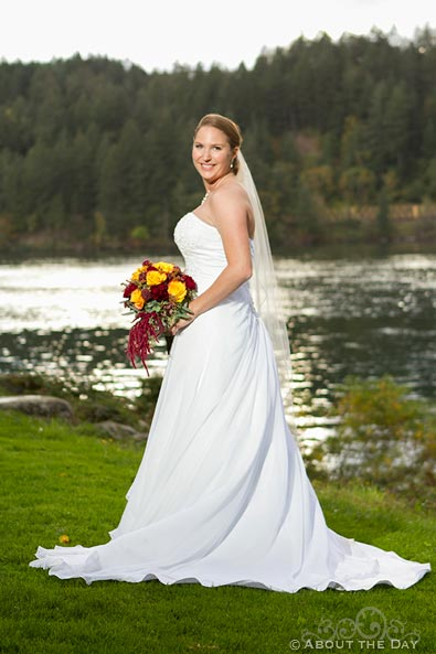 Bride in dying light at Sternwheeler Columbia Gorge & Marine Park