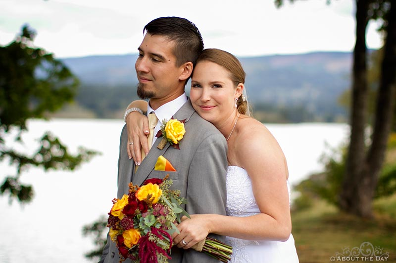 Bride and Groom on Thunder Island at Sternwheeler Columbia Gorge & Marine Park