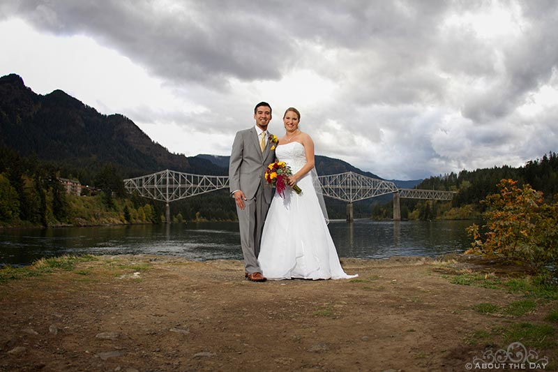 Dramatic sky over Bride and Groom and Brideg of the Gods at Sternwheeler Columbia Gorge & Marine Park