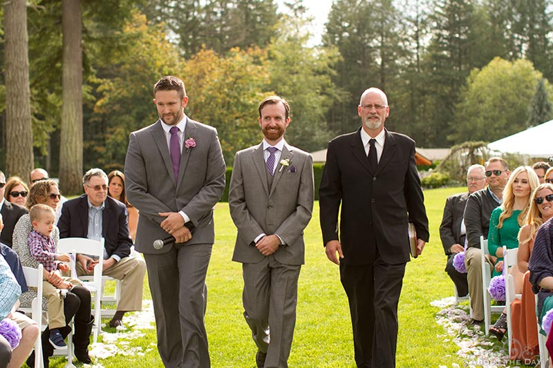 Groom, minister, and best man enter at Natures Connection in Arlington, Washington