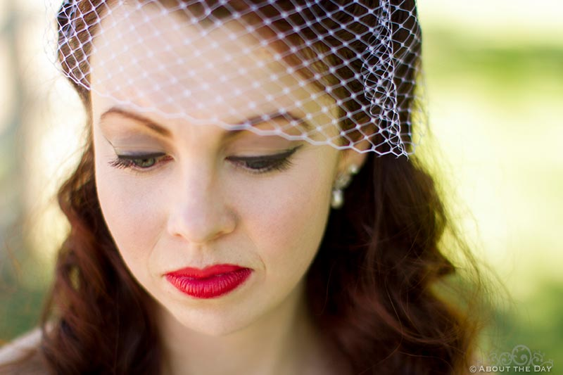 Bride with fishnet veil