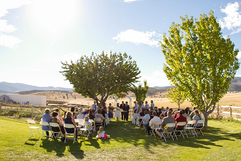 Wide view of country wedding ceremony in Yreka, California