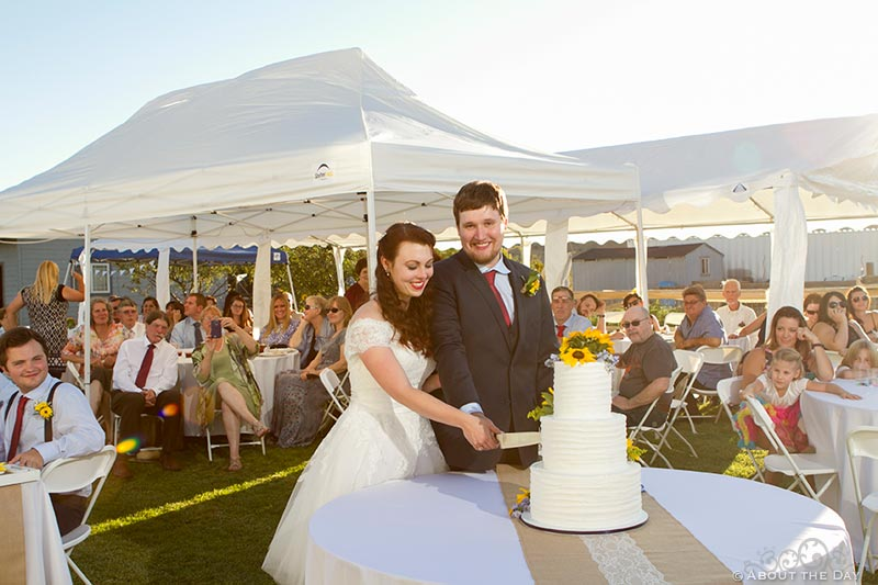 Bride and Groom cut the cake as the sun sets