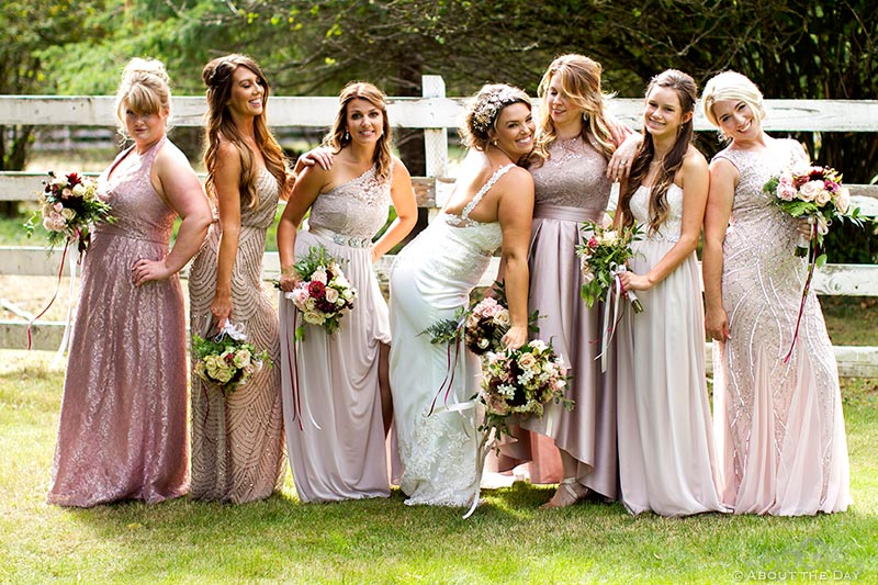 Bride and her Bridesmaids pose like movie poster