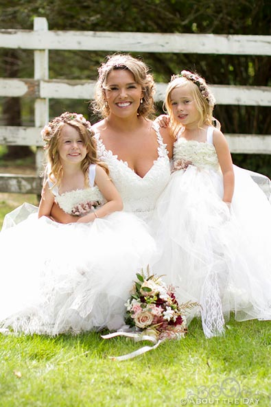 Bride and the flowergirls