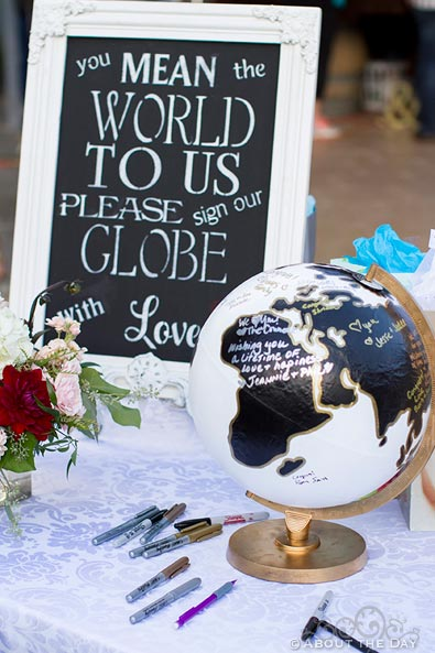 Wedding globe to sign in