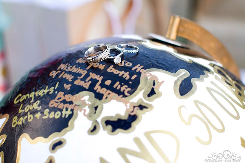 Rings on the wedding globe