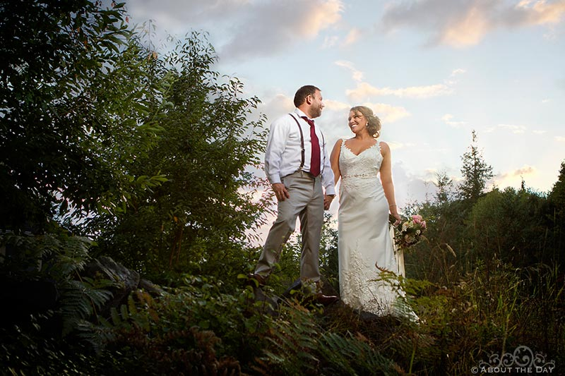 Bride and Groom in a sunset forest