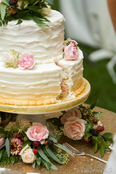 Wedding cake with a slice missing