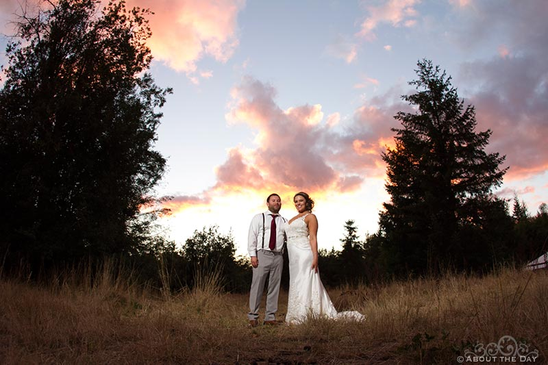 Bride and Groom during last of the stunning sunset