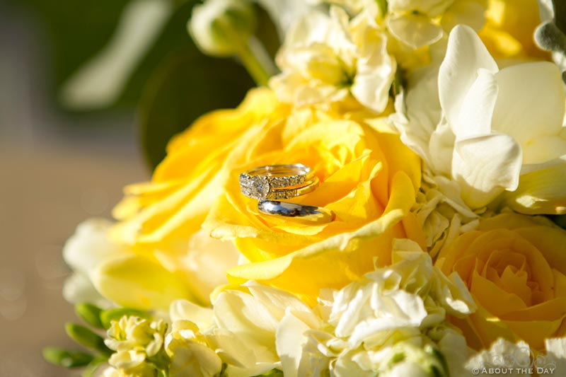 Yellow wedding roses with rings in the center