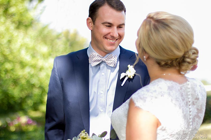 Groom sees bride for the first time on wedding day