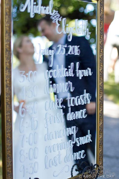 Bride and Groom are seen in a mirror