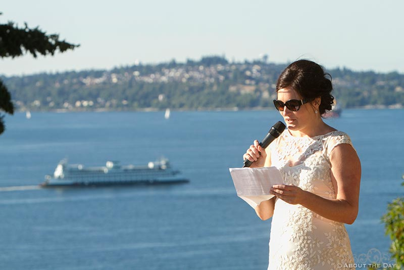Maid of honor toast with Seattle ferry in the background