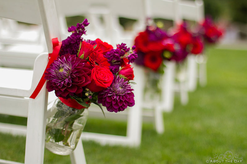 Roses decorate ceremony seating at Trinity Tree Farm in Issaquah, Washington