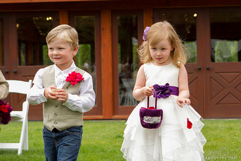 Ring bearer and flower girl at Trinity Tree Farm in Issaquah, Washington