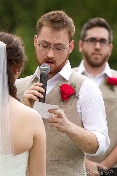Groom states his vows at Trinity Tree Farm in Issaquah, Washington