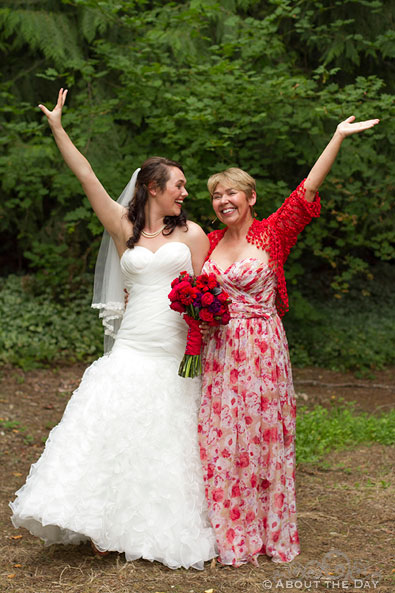 Mother and Bride do Sound Of Music pose at Trinity Tree Farm in Issaquah, Washington