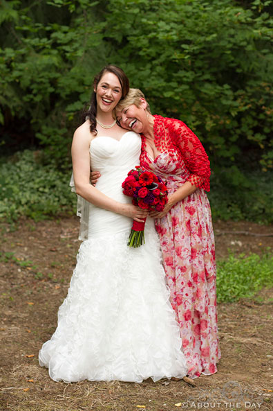 Mother leans on Bride at Trinity Tree Farm in Issaquah, Washington