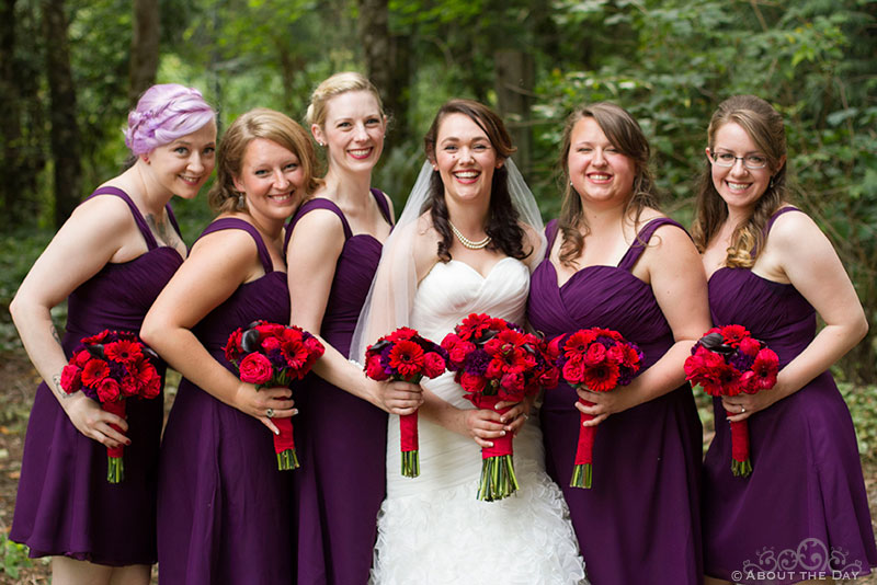 Bride and her ladies at Trinity Tree Farm in Issaquah, Washington