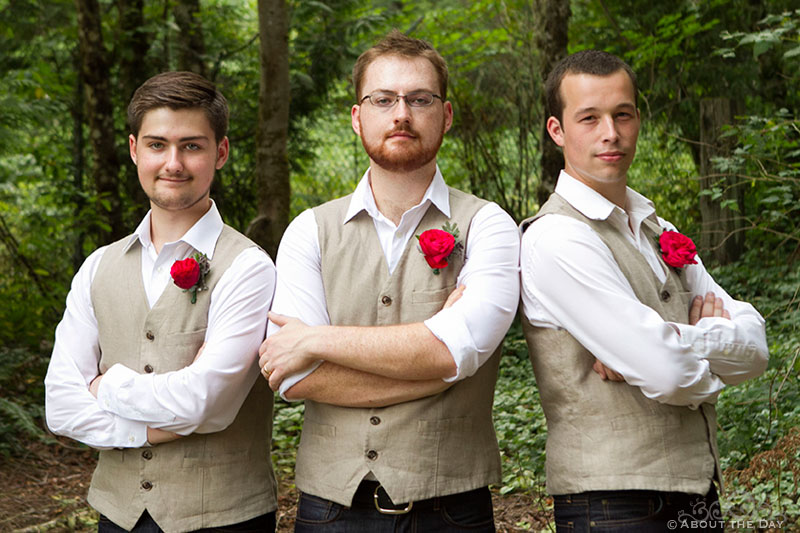 Groom and the brothers at Trinity Tree Farm in Issaquah, Washington