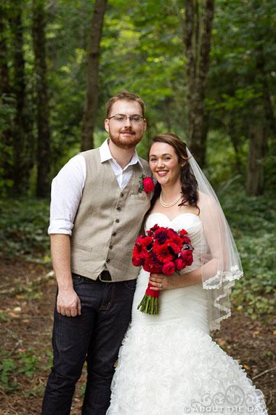Bride and Groom pose at Trinity Tree Farm in Issaquah, Washington
