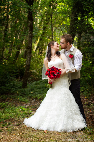 Bride and Groom in the forest at Trinity Tree Farm in Issaquah, Washington