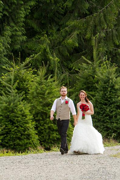 Bride and Groom return at Trinity Tree Farm in Issaquah, Washington