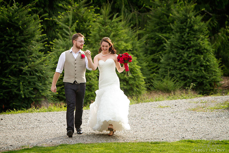 Bride and Groom make grand entrance at Trinity Tree Farm in Issaquah, Washington