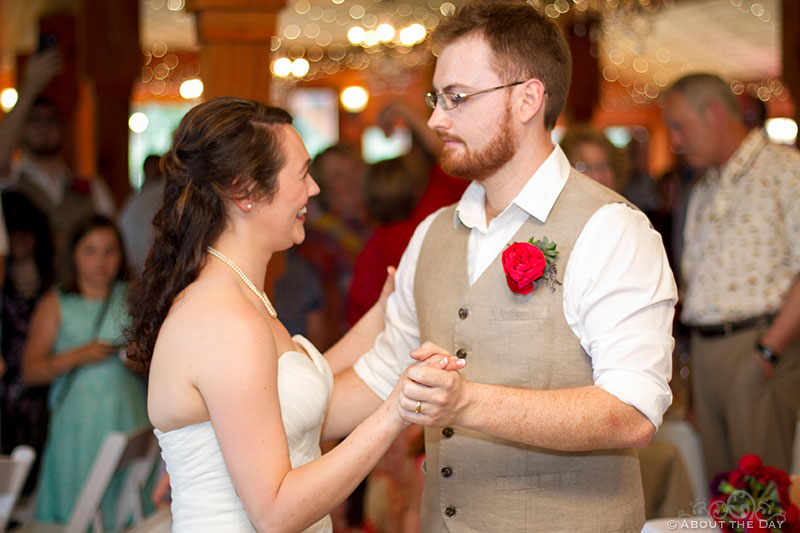 Bride and Groom first dance at Trinity Tree Farm in Issaquah, Washington