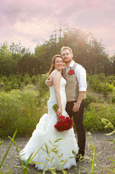 Bride and Groom in fading light at Trinity Tree Farm in Issaquah, Washington