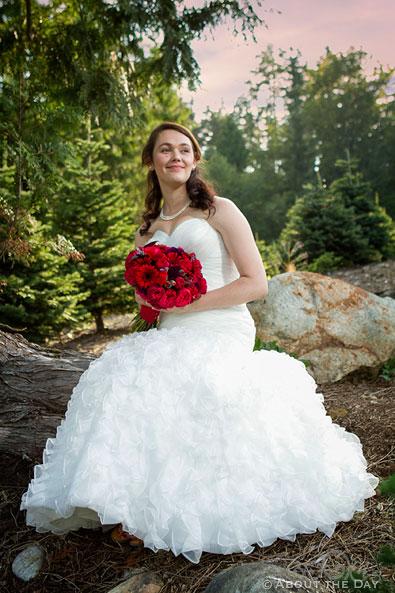 Bride looks amazing in sunset at Trinity Tree Farm in Issaquah, Washington