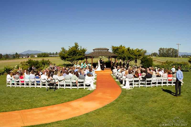 Overview of Wedding ceremony at Hidden Meadows