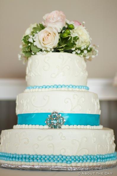 Wedding Cake with blue ribbon