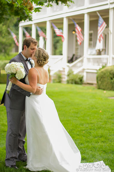 Bride kisses Groom after first glance at Officers Row