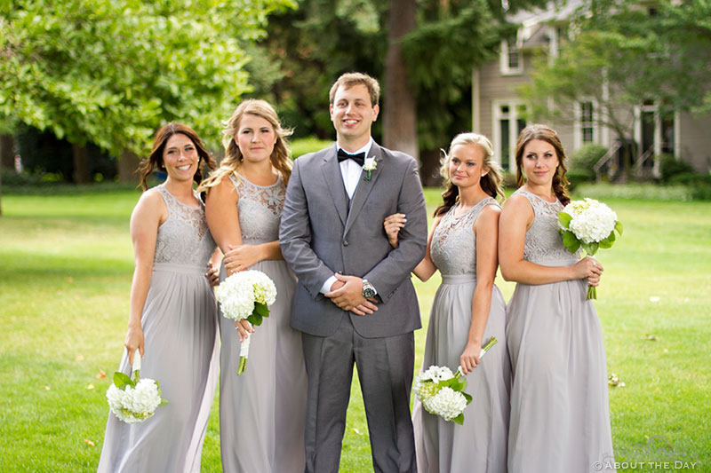 Groom looking cool with the cute bridesmaids