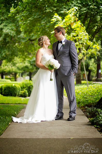Bride and Groom along path at Officers Row