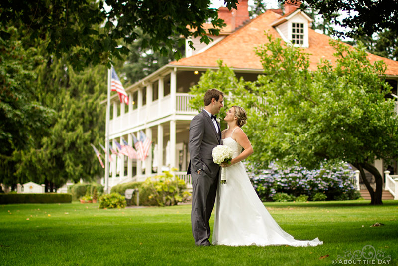 Bride and Groom own the lawn at Officers Row